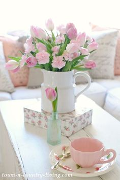Pink Tulips, spring decor, pink carnations, spring bouquet, pink decor, spring vignette
