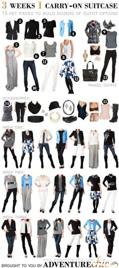 Fall travel wardrobe - 3 weeks, 1 carry-on. I need to start thinking like this when I travel!