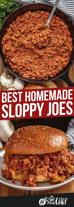 The Best Sloppy Joes are homemade and delicious enough for adults and kids alike! The whole family will love this delicious easy dinner. Homemade Sloppy Joe Recipe, Homemade Sloppy Joes, Sloppy Joes Recipe, Yummy Recipes, Meat Recipes, Cooking Recipes, Recipies, Hamburger Recipes, Easy Dinner Recipes