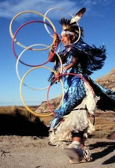 During the dance, shapes are formed in storytelling ritual such as the butterfly, the eagle, the snake, and the coyote, with the hoop symbolizing the never-ending circle of life.     Native American Hoop dance focuses on very rapid moves, and the construction of hoop formations around and about the body.