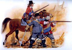 """Nuevo Modelo de Dragones, 1645 """"    • Montado dragón, de Okey regimiento.  • Oficial, de Okey regimiento.  • Dragón, regimiento de Okey."""
