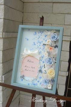 ウェディング結婚式ウェルカムボードボックス/ブルーローズ