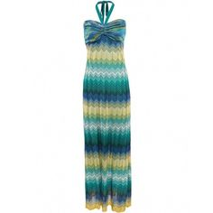 Hale Bob Dress   Missoni Style Maxi Dress ($220) ❤ liked on Polyvore featuring dresses, maxi dress, blue, blue dress, blue halter top, pleated maxi dresses, aztec print dress and halter top maxi dress