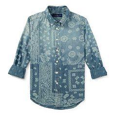 Indigo Bandanna Cotton Shirt - Boys 2-7 Sport Shirts - RalphLauren.com