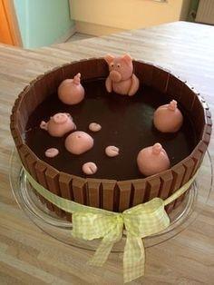 Schweinchen-im-Schlamm-Torte, voll kreativ und cool zugleich. Ein Lob an den Macher! Wow... ☺