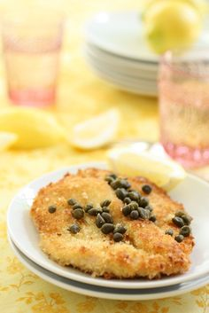 panko-breaded chicken with lemon and capers