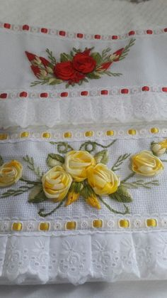 Image gallery – Page 513410426266796197 – Artofit Embroidery On Clothes, Silk Ribbon Embroidery, Floral Embroidery, Cross Stitch Embroidery, Embroidery Patterns, Hand Embroidery, Diy Ribbon, Ribbon Work, Ribbon Embroidery Tutorial