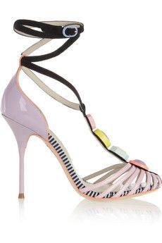 Sophia Webster Embellished patent-leather and suede sandals | NET-A-PORTER