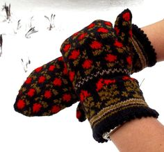 Hand knited ethnic style mittens patterned black red khaki gloves arm warmers…