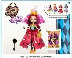 Ever After High Way to Wonderland Lizzie Hearts Ever After High, Barbie 80s, Lizzie Hearts, Ever After Dolls, Childhood Stories, Raven Queen, New Dolls, Monster High Dolls, Cute Little Girls