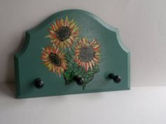 green wooden wall hanger sunflowers by PtahArtGallery on Etsy, €20.00