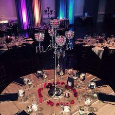 Crystals and rose pedals at Los Caballeros #simpleweddingdecor #wedding #crystalwedding
