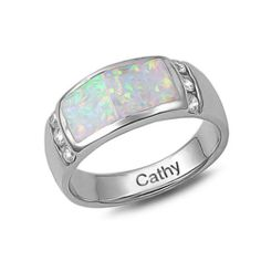 Bling Jewelry CZ Sterling Silver Inlaid White Opal Band Ring