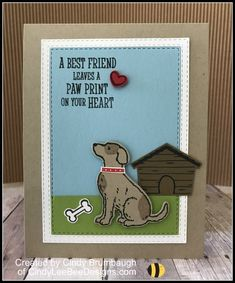 Stampin' Up Happy Tails Rectangle Stitched Frame Video Tutorial Pet Sympathy Cards, Hand Stamped Cards, Dog Cards, Bee Design, Animal Cards, Crafty Projects, Cute Cards, Homemade Cards, Stampin Up Cards