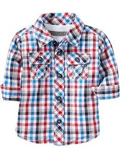 Gingham Chest-Pocket Shirts for Baby | Old Navy   Love this red & blue plaid
