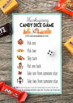 Thanksgiving Candy Dice Game - Perfect for kids after they finish their Thanksgiving dinner! The Thanksgiving kids table always needs some entertaining! A Thanksgiving Candy Dice Game is the perfect activity and so easy! Thanksgiving Games For Adults, Thanksgiving Parties, Thanksgiving Crafts, Family Thanksgiving, Halloween Games For Kids, Hosting Thanksgiving, Thanksgiving Traditions, Halloween Activities, Holiday Activities