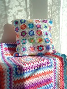 crochet pillow cushion & granny stripes blanket