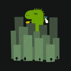 Godzilla is a clean monster on Threadless City Iphone Wallpaper, Wallpaper Backgrounds, Iphone Backgrounds, Cellphone Wallpaper, Mobile Wallpaper, Dinosaur Wallpaper, Cute Dinosaur, Monster Art, Free Illustrations