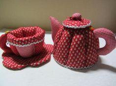 Jogo de chá em patchwork