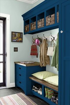 Better Homes and Gardens - Loyal Blue on built-ins (maybe for furniture instead of accent wall?), Copen Blue on other walls to complement, White trim, Gray Matters on floor (for furniture possibly)