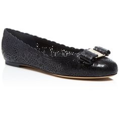 Salvatore Ferragamo Varina Lasercut Ballet Flats ($595) ❤ liked on Polyvore featuring shoes, flats, nero, laser cut shoes, ballet flats, ballet shoes flats, skimmer shoes and ballerina flat shoes