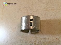 Semicolon Ring, Hand Stamped Silver Aluminum Ring, Heart with Semicolon Jewelry, Suicide Prevention Awareness Gift by ModJules on Etsy