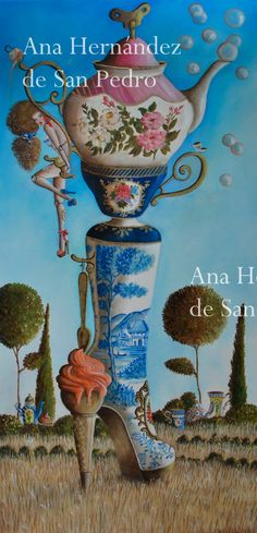 Print of original painting Tea Party Boot  por AnaHernandezSanPedro, €60.00
