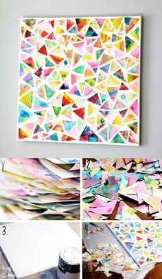 tissue paper layers mosaic colorful multi color mural decor wall art ideas