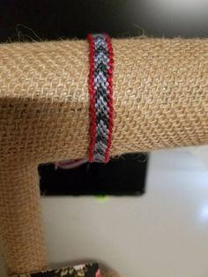 Red border with grey chevron pattern friendship bracelet by JolieTreasure on Etsy