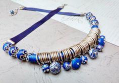 Dark blue necklace by GAVRYLENKOjewelry #mixednecklace #handmadejewelry #chokernecklace #modernnecklace #roundnecklace