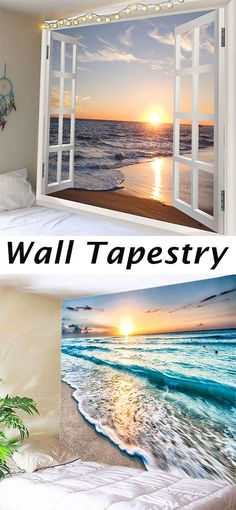 Add instant style to your home with easy to hang wall tapestries.Available in a variety of points like brick or wood textures,beach or forest scenes,there's a tapestry for every room and every style.Shop home decor at dresslily Cheap Wall Tapestries, Wall Tapestry, Sunset Sea, Wood Texture, Beach Themes, Wall Murals, Home Projects, Diy Home Decor, Backdrops