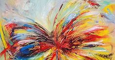 Gefii - 100% Hand-painted Abstract Painting Butterfly Wall Decor Landscape Paintings on Canvas 24x24 Inch Stretched and Framed Ready to Hang gefii … | Pinteres…