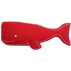 Thro By Marlo Lorenz Wally the Whale Throw Pillow ($30) ❤ liked on Polyvore featuring home, home decor, throw pillows, chili red, red toss pillows, nautical theme home decor, red accent pillows, nautical accent pillows and embroidered throw pillows