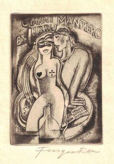 Ex libris for Gianni Mantero by Czech artist Michel Fingesten (1884-1943). via 50 watts