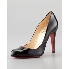Women's Christian Louboutin Decolette Patent Red Sole Pump, Black ($625) ❤ liked on Polyvore