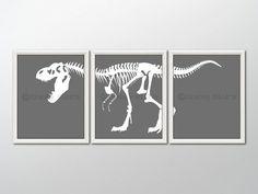 8x10 (3) DINOSAUR PRINTS - Nursery Art, Nursery Decor, Children's Art, Children's Decor, Dinosaur Prints - T-Rex Skeleton