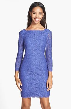 Adrianna Papell Long Sleeve Lace Sheath Dress (Regular & Petite) available at #Nordstrom