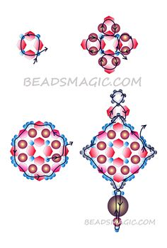 Free pattern for earrings Orange Crystals - 1 U need: seed beads 11/0 bicones 5-6 mm pearl beads 5-6 mm 2 faceted round beads 10 mm