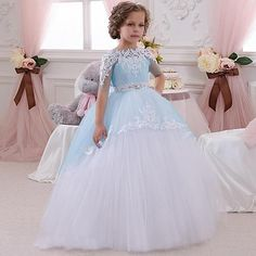 64.59$  Buy now - http://alig0l.worldwells.pw/go.php?t=32655004662 - Hot Robe Communion Fille Blue Ball Gown Crew Neck Ankle Length Bow Sash Short Sleeves Patchwork Long First Communion Dresses 64.59$