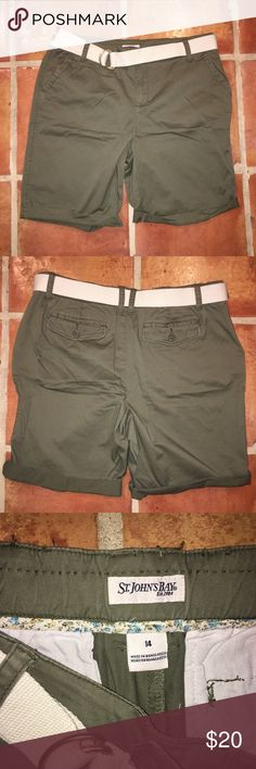 """NWOT St John's Bay Olive Bermuda Shorts with belt Olive Green Khaki Bermuda Shorts with Cream Belt. 98% cotton and 2% spandex. 18"""" across waist, 20"""" long in total, 11"""" inseam. Feel free to bundle and make an offer! St. John's Bay Shorts Bermudas"""