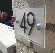 All house plaques are made from clear acrylic with a frosted(etched) effect vinyl applied to the rear leaving a clear border. Door Number Plaques, Door Numbers, House Numbers, Hospital Signage, House Number Plates, Name Plate Design, House Plaques, Address Plaque, Signage Design