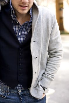 Like and also like if button up was black and white plaid, with black vest and charcoal grey sweater or black sweater.