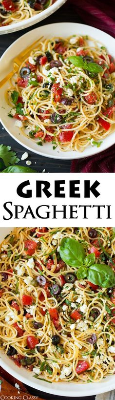 Garlicky Greek Spaghetti Toss – Cooking Classy – Food for Healty Vegetarian Recipes, Cooking Recipes, Healthy Recipes, Vegetarian Appetizers, Delicious Recipes, Easy Recipes, Greek Recipes, Italian Recipes, Greek Meals