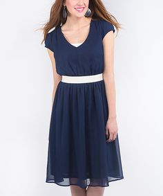 Look at this Peacoat Navy Crinkle Cutter Dress on #zulily today!