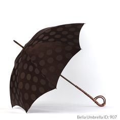 Umbrella ID 907 | Brown on Brown Polka Dot Umbrella | Late 1800s Natural Wood…