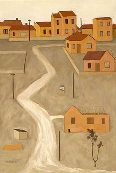 The Unmade Road by John Brack The lack of perspective in his paintings are reminiscent of traditional Japanese prints. Australian Painting, Australian Artists, European Paintings, Contemporary Paintings, Art Database, Indigenous Art, Japanese Prints, Art Auction, Installation Art