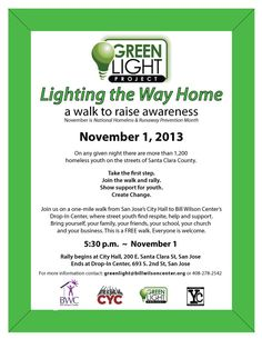 """That kid next to you may not have a home!  Find out how to help at Bill Wilson Center's   """"Lighting the Way Home"""" walk, November 1st"""