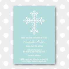 Printable Baptism Invitation  Intricate Cross by inglishdigidesign, $10.00