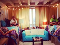 Roommates can coordinate to create a cool unified college dorm room theme. This has a definite Moroccan or bohemian vibe
