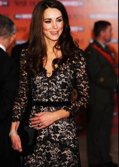 European style long lace renda dress sexy V-neck black Princess Kate Vestidos 2015 Spring Kate Middleton dresses